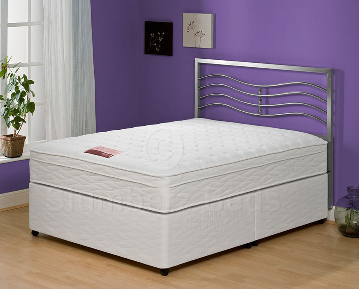 Sorrento double white faux leather bed with firm mattress for Memory foam double divan bed sale